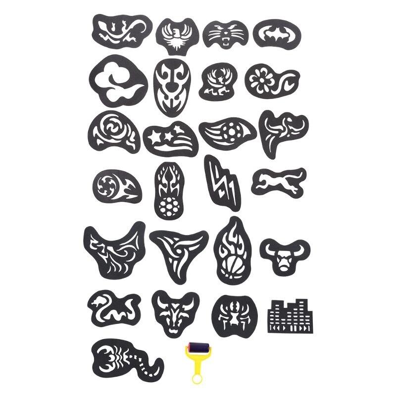 25PCS/SET Temporary Tattoo Stencil Haircut Hair Coloring Shaping Tool Roller