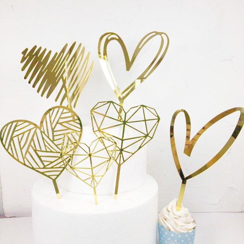 2021 Новая любовь свадебный торт фигурки жениха и невесты; Цвета: золотистый, счастливый день Святого Валентина Розовый Топпер для торта в фор...