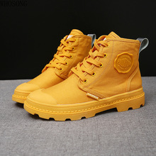 Sneakers women 2019 new short boots female autumn yellow Martin motorcycle womens single high top canvas shoes m444