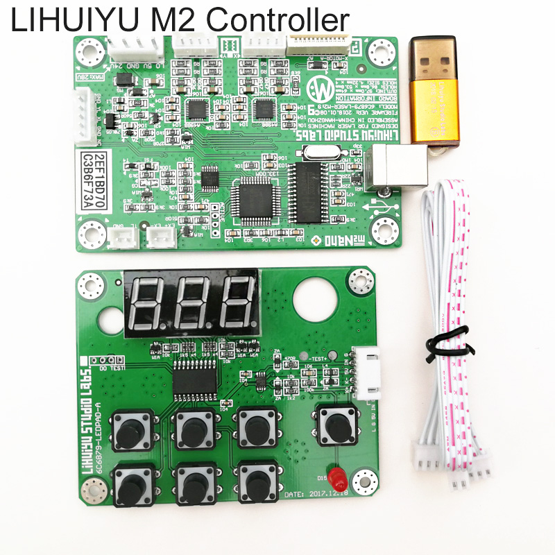 LIHUIYU Nano M2 CO2 Laser Main Board + Dongle B + Control Panel Board Corellaser LaserDRW CO2 Laser Stamp Machine K40 3020 3040