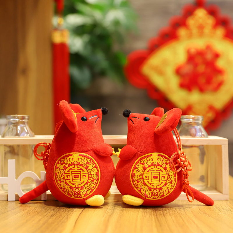 2020 Year Of The Rat Mascot Fat Plush Toy Red Accompanying Mouse High Quality Pendant Deacoration New Year Gift For Kids