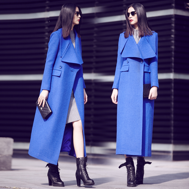 Lapel Slim Woolen Long Coat