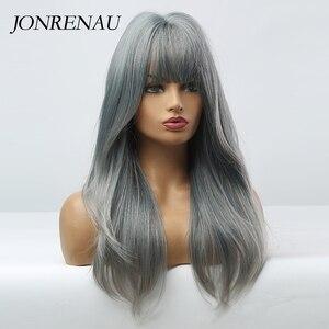 Image 5 - JONRENAU Cyan pelucas de cabello sintético degradado para mujer, pelo largo y liso, Color gris, con explosión, para Cosplay o fiesta