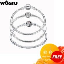 Luxury 100% 925 Sterling Silver Charm Bracelet  Original Heart Beads Chain Fit Bracelet & Bangle For Love Women Jewelry ZBBS916