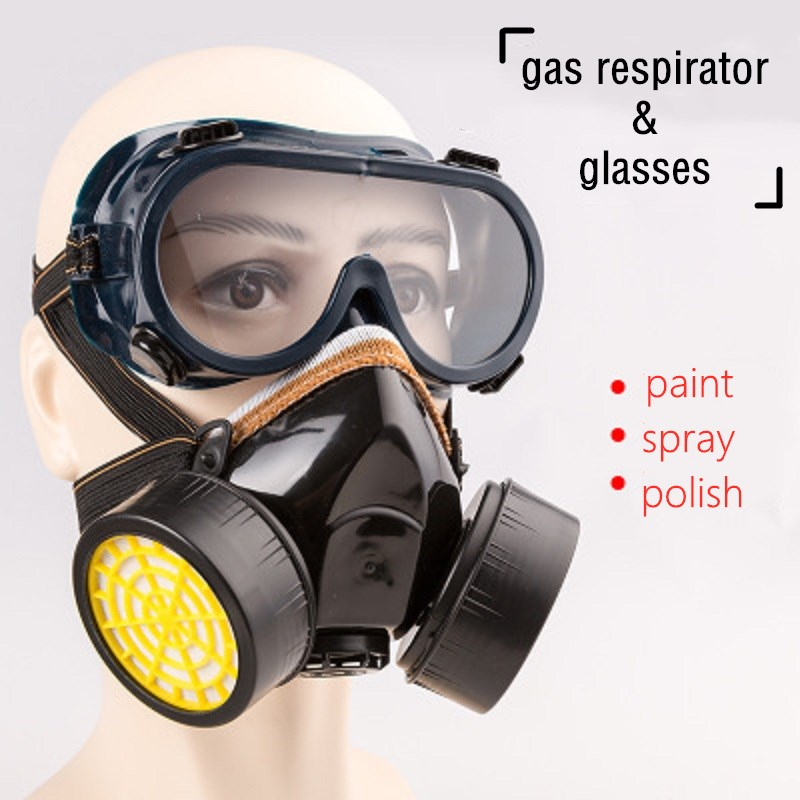Half-face Gas Respirator Masks with Work Glasses Chemical Anti Particles Painting Industrial Cartridges Safety Protection Mask