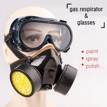 Półmaski gazowe maski respiratora z okularami roboczymi chemiczne anty cząstki malowanie wkładów przemysłowych ochrona bezpieczeństwa maska tanie tanio karocola CN (pochodzenie) NONE Organiczne Gazu double-yellow WORK