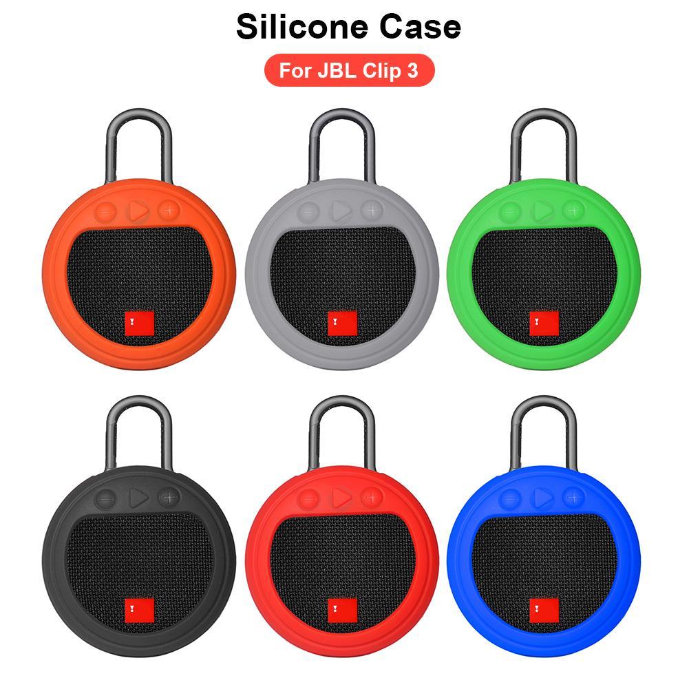 Silicone protetor à prova de choque caso anti-risco durável levanta-se caso de transporte manga para bluetooth alto-falante jbl clipe 3