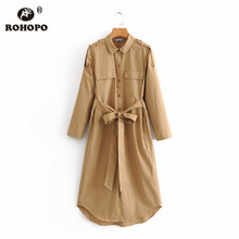 ROHOPO Khaki Solid Straight Long Sleeve Midi Tee Cotton Dress Buttons Fly Chest Pockets Belted Round Edge Autumn Vestido #6152