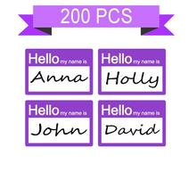 2 X 3 inch Hello My Name is Stickers/Badges/Name Tag Labels Great for Kids, School, Employees, Reunions,Pack of 200 (Purple)