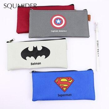 Superhero Canvas Pencil Case Creative Large Capacity Side Open Zipper Bag School Stationery - discount item  7% OFF School Supplies