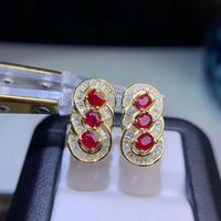 shilovem 925 silver sterling real Natural Ruby Stud Earrings fine Jewelry new trendy Christmas gift 3*4mm de0304888agh