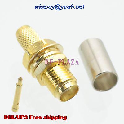 DHL/EMS 500pcs Connector RPSMA Female Plug Bulkhead Crimp RG58 RG142 LMR195 RG400 Cable -A3