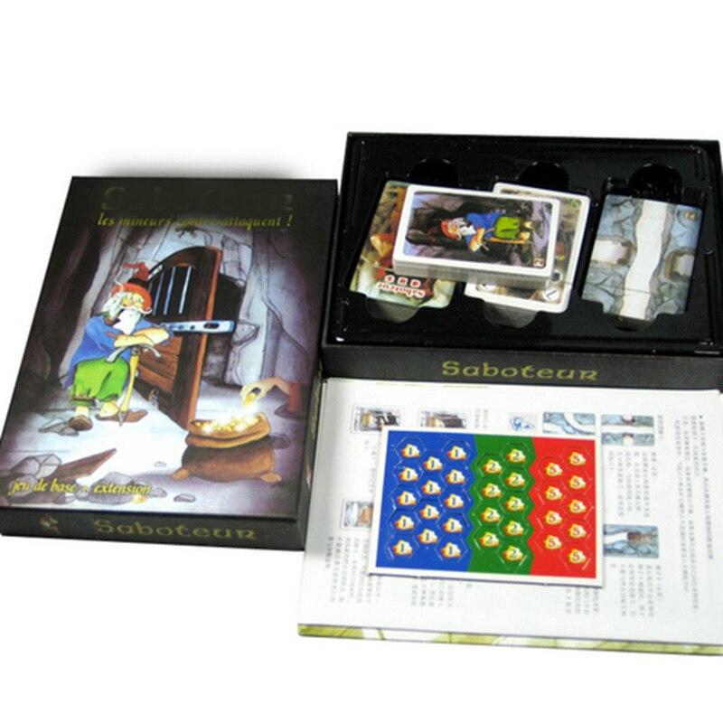 Jogo de tabuleiro da família jogo de tabuleiro sabotador 1 + 2 versão/saboteur1 versão jeu de jogo de tabuleiro engraçado com instruções em inglês