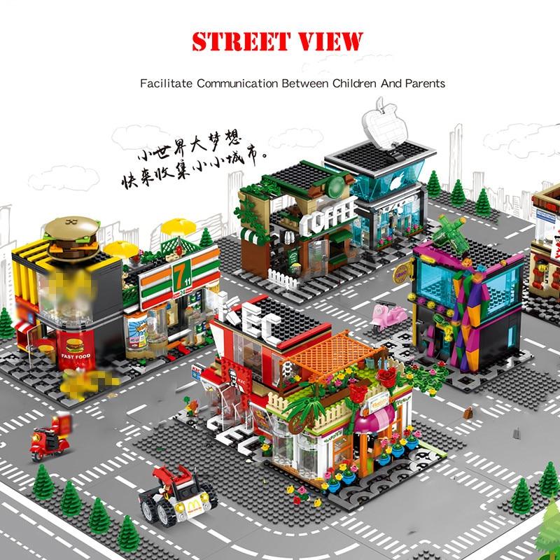 Street Hamburger Cafe Retail Convenience Store Architecture Building Blocks Compatible Legoed Technic City Street View Brick Toy 29