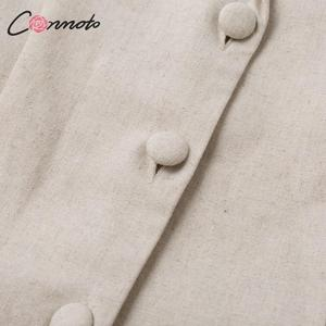 Image 5 - Conmoto כפתור חגורת עניבת קיץ plusysuits romper נשים סיבתי פשתן חוף playsuits romper לבן חוף קצר סרבל romper