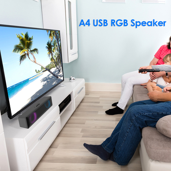 A4 6W RGB USB Wired Powerful Computer Speaker Bar Stereo Subwoofer Bass speaker Surround Sound Box for PC Theater TV Speaker 3