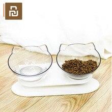Youpin miska dla kotów przezroczysta podwójna miska karma dla kotów miska miseczka na wodę miska dla psa miska na karmę dla psa pochylona usta chroniąca kręgosłup