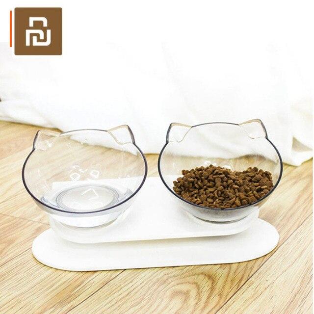 Youpin แมวชามโปร่งใสชามคู่ชามอาหารแมวชามสุนัขชามอาหารสุนัขชามเอียงปากปกป้องกระดูกสันหลัง