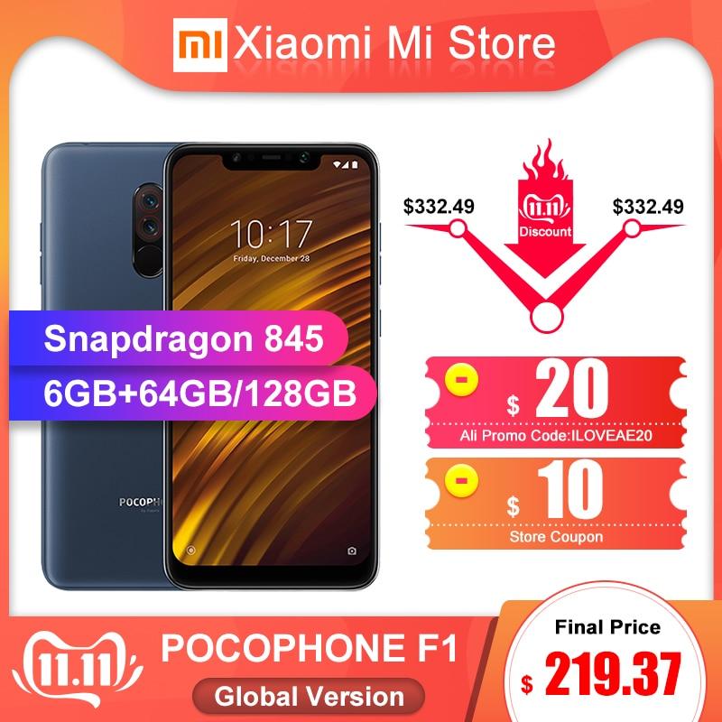 Global Version Xiaomi POCOPHONE F1 6GB 64GB/6GB 128GB Smartphone Snapdragon 845  20MP Front Camera LiquidCool 6.18'' Full Screen