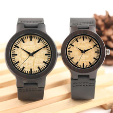 Watches Couple Wood Quartz Yellow Dial-Lover Genuine-Leather Round for Beige Display