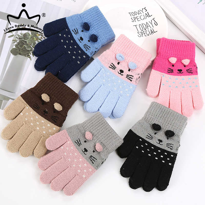 Toddler Mittens Winter Warm Stretch Gloves Cute Knitted Mitten for Baby Boys and Girls