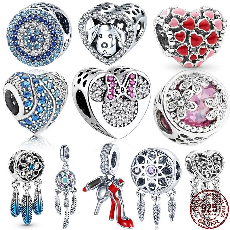 Authentic 925 Sterling Silver Dazzling Blue CZ Charm Beads Fit Original Pandora Bracelet Pendant DIY Jewelry Making 2020 New