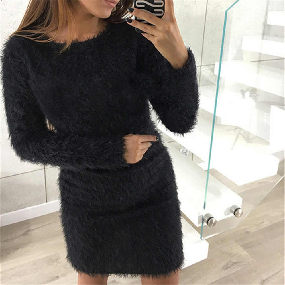 2018 invierno de felpa de punto suéter vestido mujer fiesta noche Bodycon Navidad negro ropa primavera Sexy Mini vestido de vendaje femenino