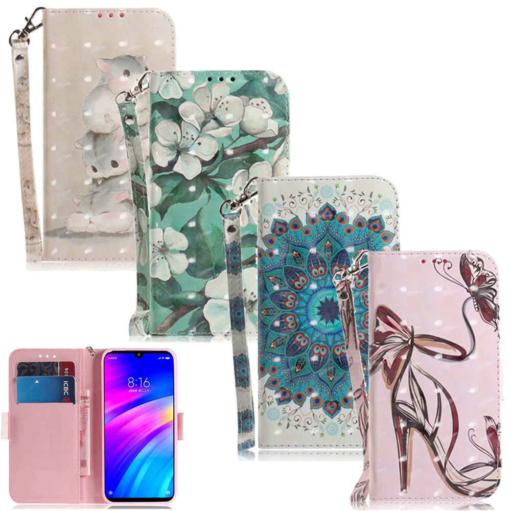 <font><b>3D</b></font> Flower Leather Wallet Bag For <font><b>Xiaomi</b></font> Mi A2 6X 9T A3 Lite F1 <font><b>Redmi</b></font> 7A 7 6 5 Plus 6A Go S2 <font><b>Note</b></font> 7 6 <font><b>Pro</b></font> Case Flip Cartoon Cover image