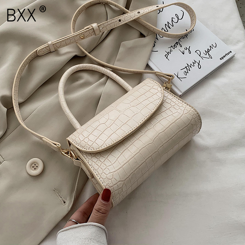 [BXX] Crocodile Pattern Leather Shoulder Bags For Women 2020 Lady Elegant Handbags Female Travel Solid Color Crossbody Bag HM019