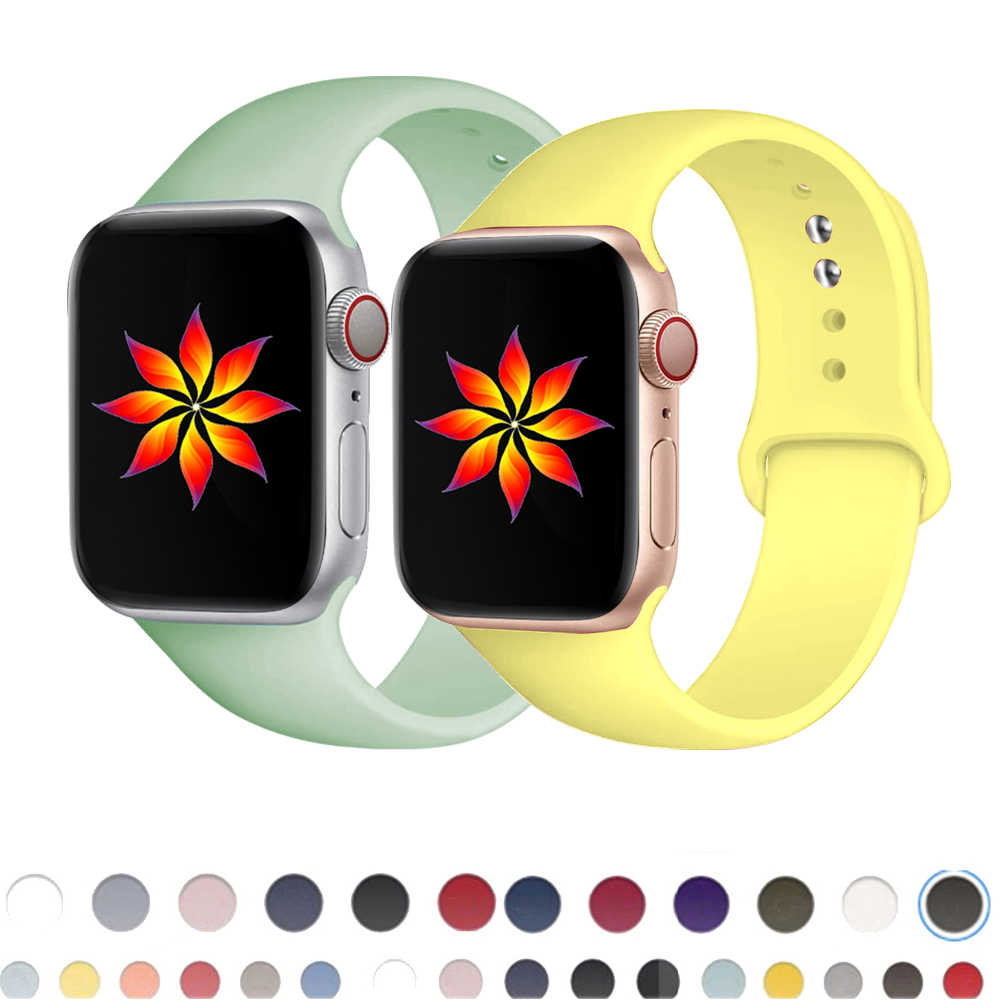 Silikon Tali untuk Apple Watch Band 44 Mm 42Mm 40Mm 38Mm Karet Gelang Jam Sabuk Olahraga Gelang IWatch seri 5 4 3 2 40 38 42 44 Mm