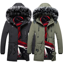 Newly Fashion Winter Jackets Men British Fur Collar Thick Velvet Long Trench Men Hooded Coats Casual Outwear Warm Parka Men free shipping 2017 new polyester winter jackets and coats thick warm fashion casual handsome young men parka fit snow cold