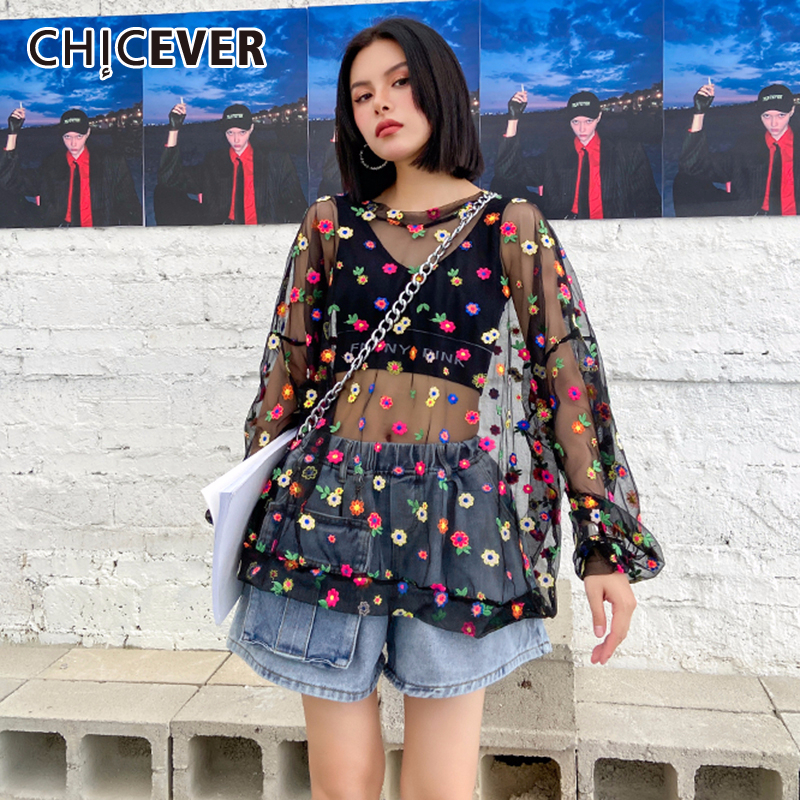 CHICEVER Print Hit Womens T shirt O Neck Short Sleeve Patchwork Mesh Oversize Color Summer Shirt Female Fashion New Clothes 2020 T-Shirts    - AliExpress