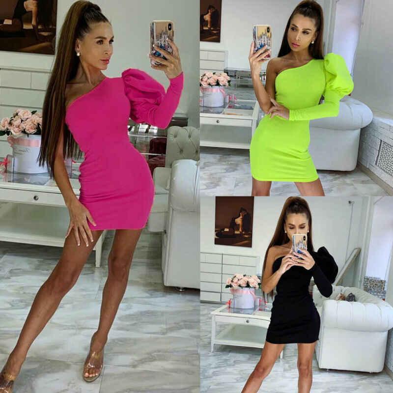 2019 Fashion Wanita Seksi Gaun Pesta Padat Satu Bahu Gaun Puff Lengan Bodycon Seksi Di Atas Lutut Gaun Pesta Club Wear