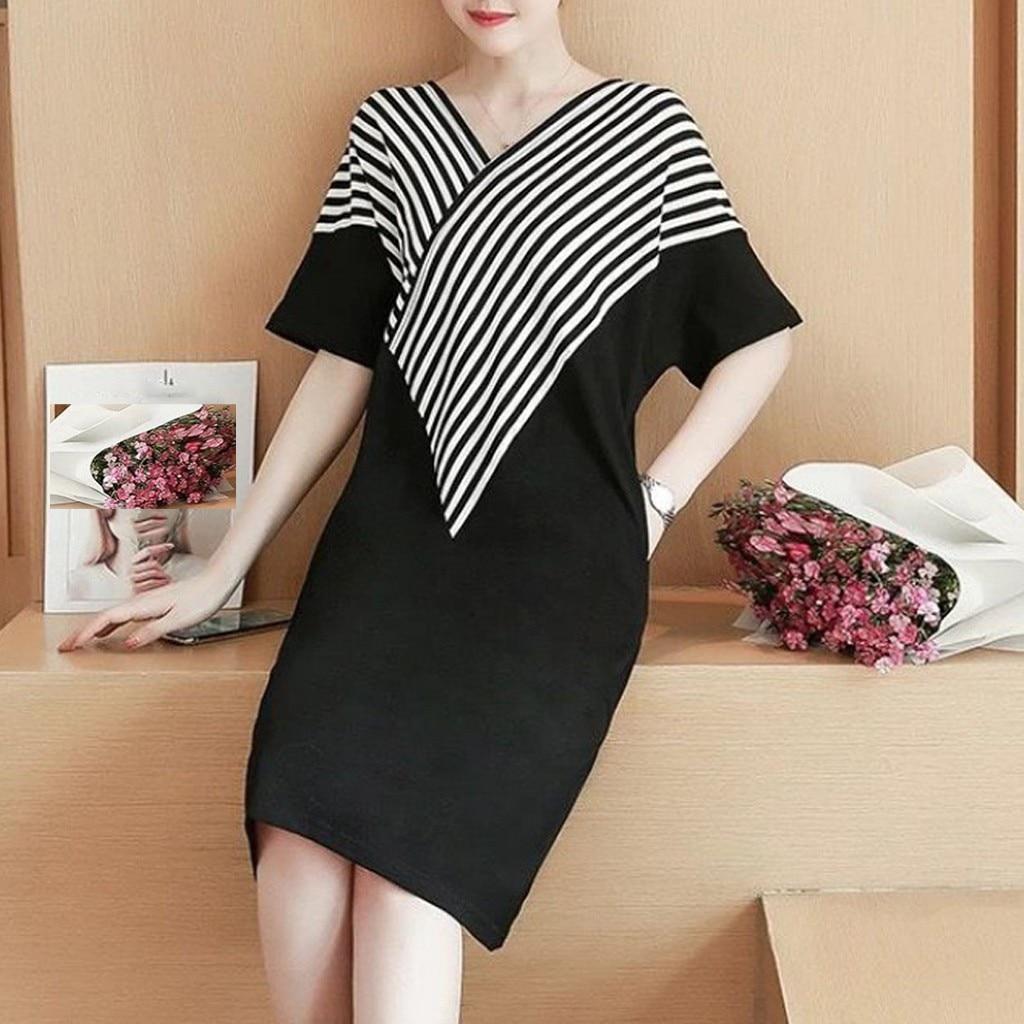 Summer Dress 2020 Women Fashion Lady Elegant Loose Leisure Style Half Sleeve Stripe Dress Sexy Party Dress Vestidos de fiesta