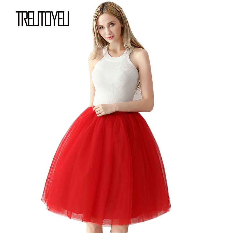 Treutoyeu Design Hot Red Sexy Tutu Tulle Skirt Family Christmas Party 6 Layers 65cm Midi Pleated Skirts Womens Faldas Mujer