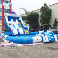 Giant Longer Inflatable Water Park Beach Slides with Big Pool for Sale