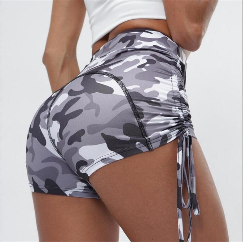 Fashion Women Shorts For Sports Drawstring Design Elastic Waist Camouflage Print Shorts Lady Summer Causal Skinny Slim Shorts