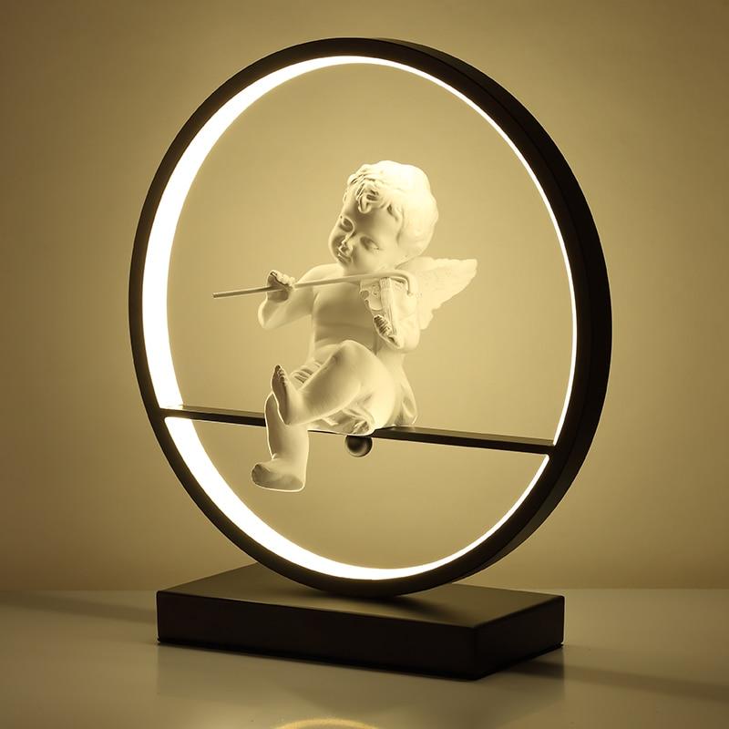 천사 테이블 램프 침실 머리맡 led 빛 현대 장식 램프 결혼 한 커플 로맨틱 따뜻한 책상 램프 원격 조광