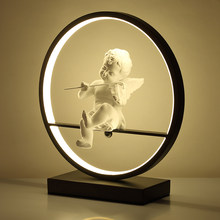Angel table lamp bedroom bedside LED light modern decorative lamp married couple romantic warm desk lamp with Remote dimming(China)