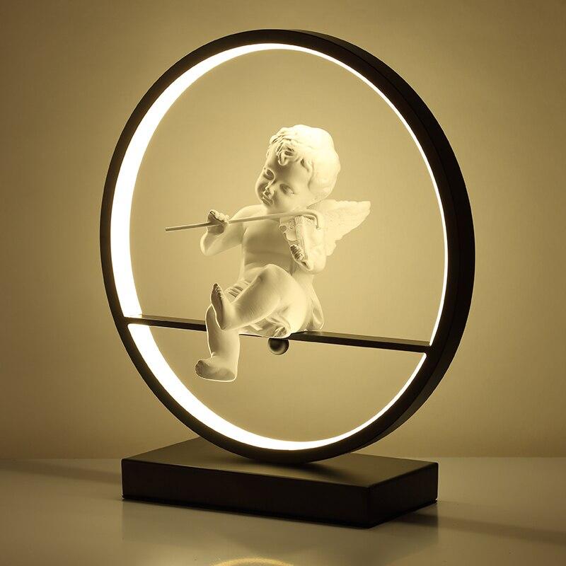 Lámpara de mesa de Ángel, lámpara LED para dormitorio, Lámpara decorativa moderna, lámpara de escritorio cálida romántica para pareja de casados con atenuación remota