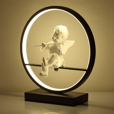 anjo lampada de mesa quarto cabeceira luz led moderno lampada decorativa casal romantico quente lampada