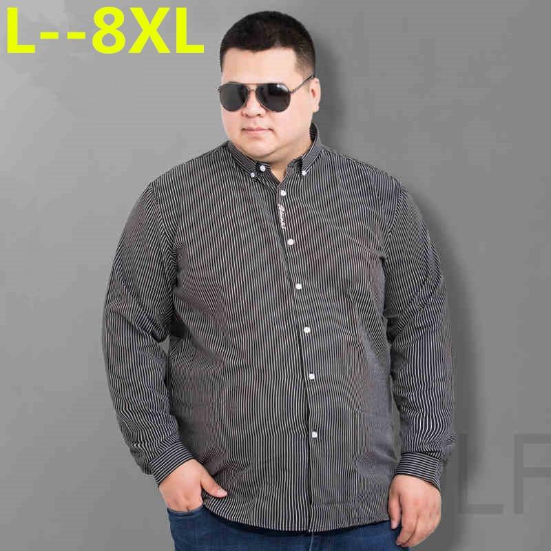 Big 8XL 6XL 5XL New Autumn Fashion Brand Men Clothes Slim Fit Men Long Sleeve Shirt Men Striped Cotton Casual Men Shirt Social