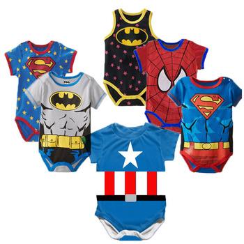 Superman letnie śpioszki dla niemowląt nowonarodzone dziecko chłopiec śpioszki dziewczęce kombinezon z krótkim rękawem ubrania dla dzieci odzież bawełniana 0-18M tanie i dobre opinie COTTON Moda KLo989 Drukuj O-neck Body Unisex Pasuje mniejszy niż zwykle proszę sprawdzić ten sklep jest dobór informacji