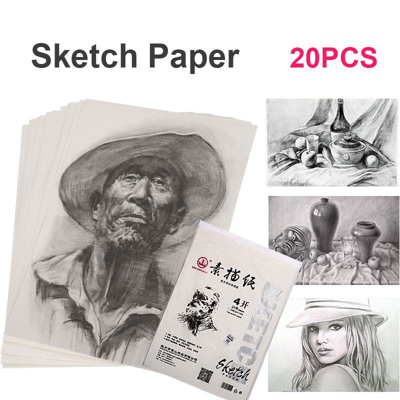 Sketch Pad Durable Professional 4K 160g 20pcs/Bags Student Art Supplies Sketch Book Wood Color Stationery Drafting Sketch Paper