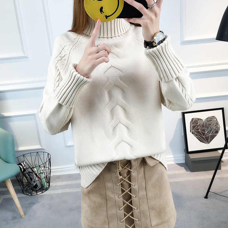 Suéter de cuello alto Mujer otoño tejido Jersey invierno manga larga superior señoras ropa Sueter Mujer LWL780