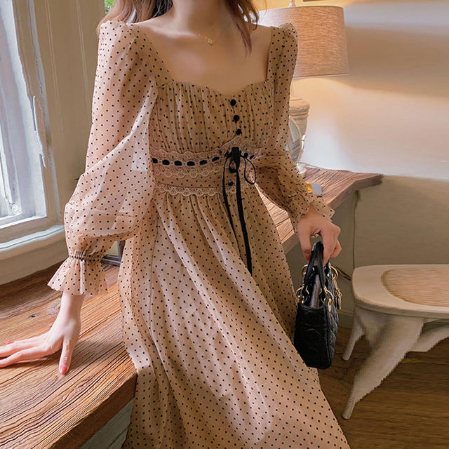 French Vintage Midi Dress Women Puffer Sleeve Square Collor Office Elegant Dress Female 2021 Spring Dot One Piece Dress Korean 2