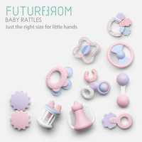 10 Pcs Baby Rattles Mobiles Educational Toys Toddlers Bed Bell Playing Kids Baby Boiled Ring Tooth Toys Hand Ring Bite Teether