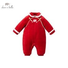 DBM15525 dave bella winter new born baby girls Christmas cartoon  jumpsuits infant toddler clothes children romper 1 piece
