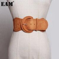 [EAM] gamuza Pu de cuero hebilla grande ajustable cinturón ancho personalidad nueva de marea de la moda-encuentro de primavera otoño 2021 JZ135