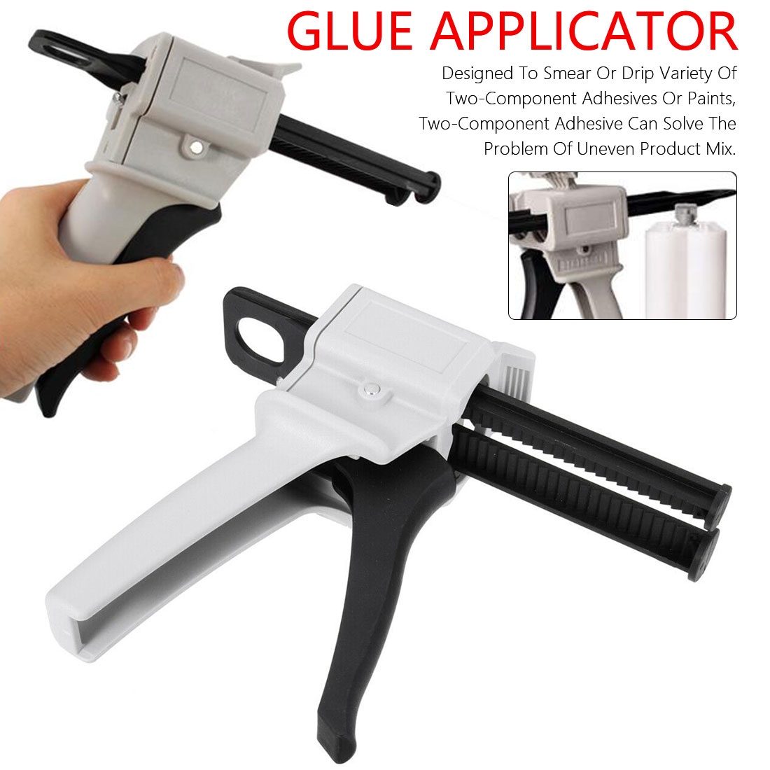 50ml Caulking Gun Hand Tool AB Epoxy Glue Gun Applicator Glue Adhensive Cartridge Gun 1:2 1:1 AB Glue Manual Dispenser Glue Gun